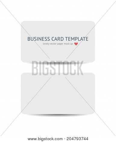 Two business cards with round corners template mockup isolated on white background. Realistic vector white paper card mock up for graphic designers presentations and portfolios, promotion of compny branding identity