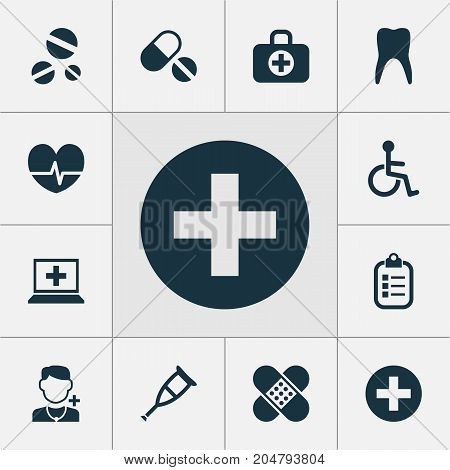 Medicine Icons Set. Collection Of Pills, Cure, Spike And Other Elements