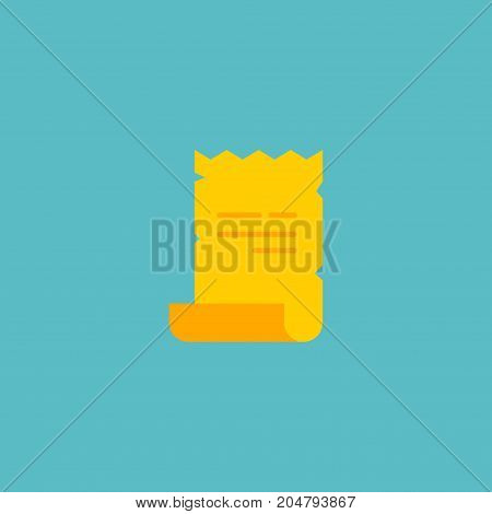 Flat Icon Magical Scrolled Element. Vector Illustration Of Flat Icon Parchment Isolated On Clean Background