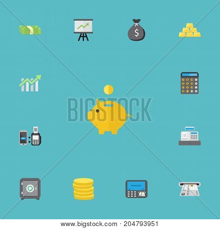 Flat Icons Teller Machine, Finance Sack, Accounting And Other Vector Elements