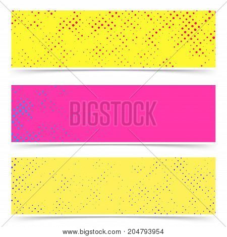 Bright empty colorful dotted abstract pop art banners collection. Blank space for your text and graphic advertisement. Vector illustration