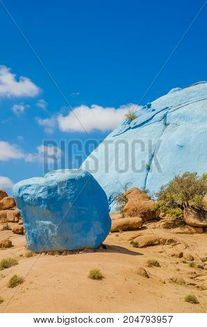 The famous colorful Painted Rocks near Tafraoute in the Anti Atlas mountains of Morocco, North Africa.