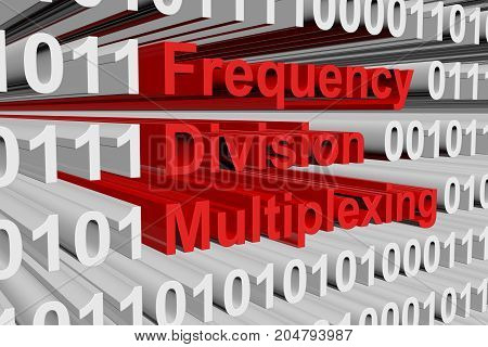 Frequency division multiplexing in the form of binary code, 3D illustration