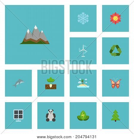 Flat Icons Blossom , Landscape, Sprout Vector Elements