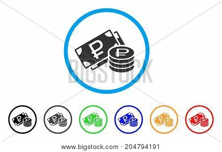 Rouble Cash rounded icon. Style is a flat rouble cash gray symbol inside light blue circle with black, gray, green, blue, red, orange variants. Vector designed for web and software interfaces.