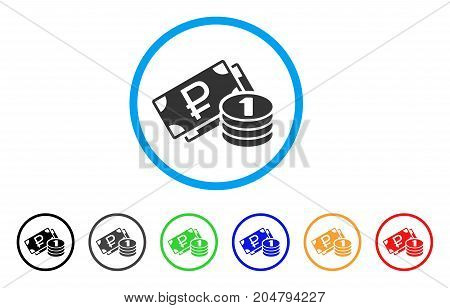 Rouble Cash rounded icon. Style is a flat rouble cash gray symbol inside light blue circle with black, gray, green, blue, red, orange versions. Vector designed for web and software interfaces.