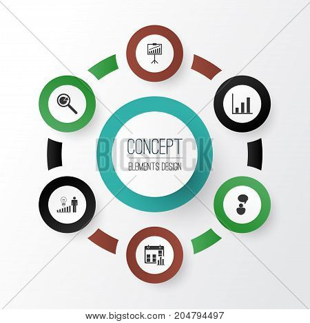 Executive Icons Set. Collection Of Presentation Date, Bar Chart, Opinion Analysis And Other Elements