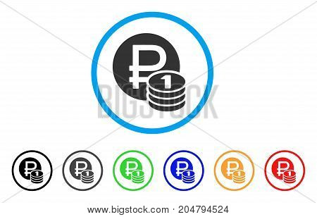 Rouble Coins rounded icon. Style is a flat rouble coins grey symbol inside light blue circle with black, gray, green, blue, red, orange color versions. Vector designed for web and software interfaces.