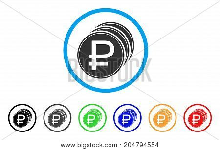 Rouble Coins rounded icon. Style is a flat rouble coins grey symbol inside light blue circle with black, gray, green, blue, red, orange versions. Vector designed for web and software interfaces.