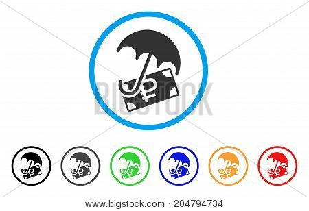 Rouble Financial Safety rounded icon. Style is a flat rouble financial safety gray symbol inside light blue circle with black, gray, green, blue, red, orange color versions.