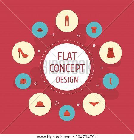 Flat Icons Elegant Headgear, Heeled Shoe, Fedora And Other Vector Elements