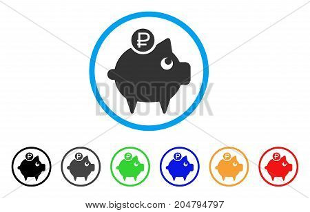 Rouble Piggy Bank rounded icon. Style is a flat rouble piggy bank gray symbol inside light blue circle with black, gray, green, blue, red, orange variants.