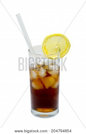 glass of cocktail or tea with glass drinking straw ice and lemon isolated on white. object; beverage.