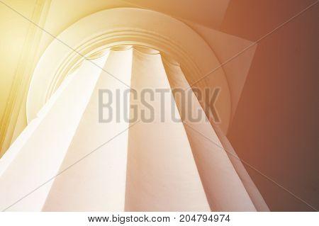 Classic antique column close up. Background for ancient greek culture