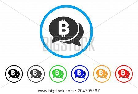 Bitcoin Chat rounded icon. Style is a flat bitcoin chat grey symbol inside light blue circle with black, gray, green, blue, red, orange variants. Vector designed for web and software interfaces.