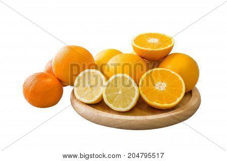 Mandarin Oranges And Half Slice On Wooden Tray In Modern Room.