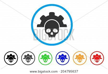 Dead Tools rounded icon. Style is a flat dead tools grey symbol inside light blue circle with black, gray, green, blue, red, orange color versions. Vector designed for web and software interfaces.