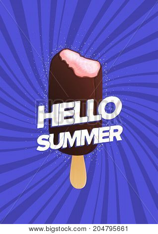 Modern poster template with bitten ice cream on stick and Hello Summer inscription against purple background. Ice pop covered with chocolate glaze, seasonal frozen snack. Colorful vector illustration