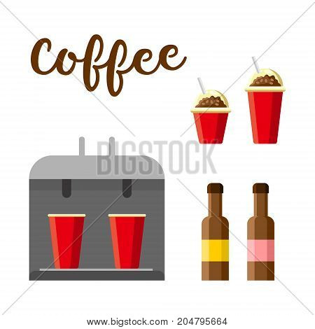 Hot coffee set. Colorful vector constructor, cartoon style, isolated on white background