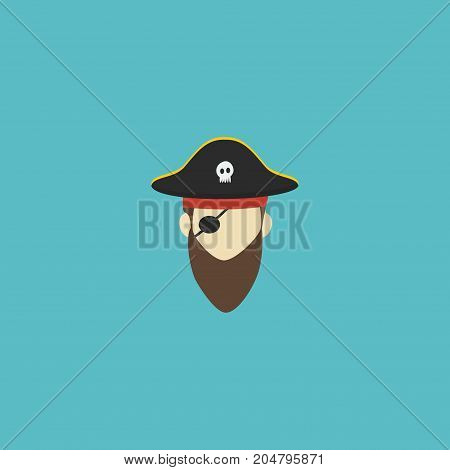 Flat Icon Pirate Element. Vector Illustration Of Flat Icon Corsair Isolated On Clean Background