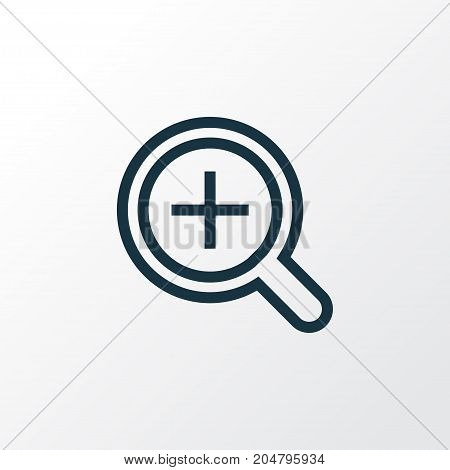 Premium Quality Isolated Zoom In Element In Trendy Style.  Magnifier Outline Symbol.