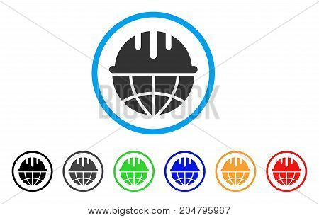 Global Safety Helmet rounded icon. Style is a flat global safety helmet grey symbol inside light blue circle with black, gray, green, blue, red, orange versions.
