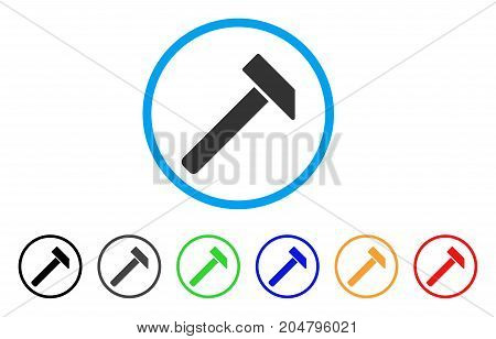 Hammer rounded icon. Style is a flat hammer grey symbol inside light blue circle with black, gray, green, blue, red, orange versions. Vector designed for web and software interfaces.