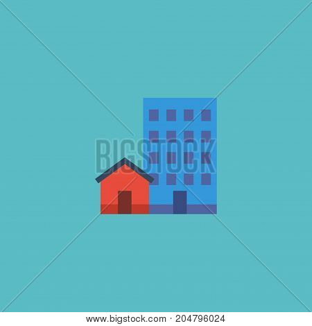Flat Icon Options Element. Vector Illustration Of Flat Icon Buildings Isolated On Clean Background