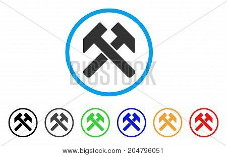 Hammers rounded icon. Style is a flat hammers grey symbol inside light blue circle with black, gray, green, blue, red, orange variants. Vector designed for web and software interfaces.