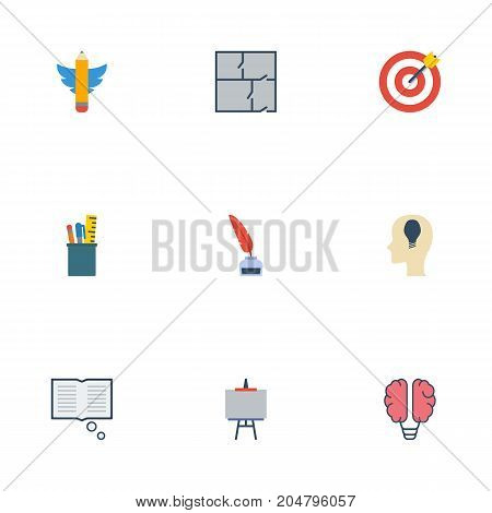 Flat Icons Pencil, Bulb, Arrow And Other Vector Elements