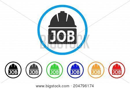 Job rounded icon. Style is a flat job grey symbol inside light blue circle with black, gray, green, blue, red, orange variants. Vector designed for web and software interfaces.