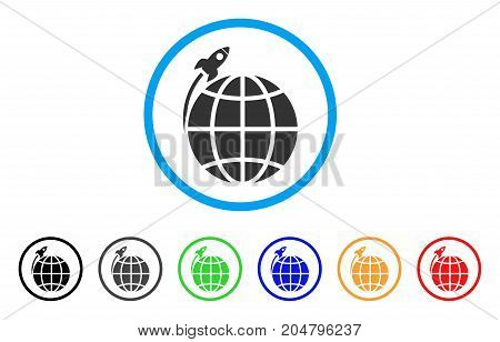 Planet Satellite Launch rounded icon. Style is a flat planet satellite launch gray symbol inside light blue circle with black, gray, green, blue, red, orange variants.