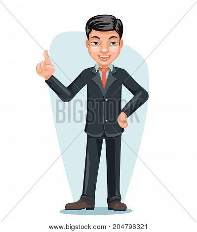 Asian Businessman Chinese Japanese Vietnamese Male Employee Boss Hand Forefinger Up Character Cartoon Design Vector Illustration