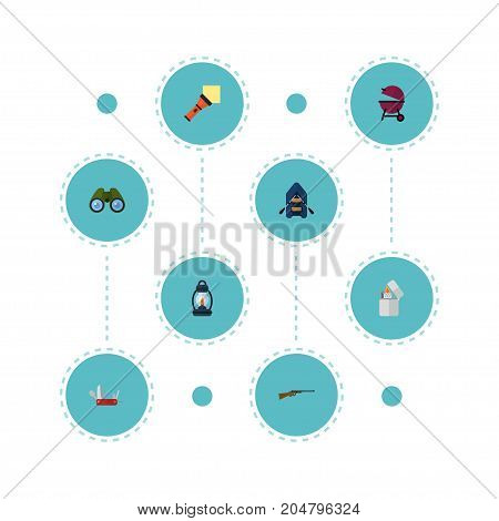 Flat Icons Barbecue, Penknife, Lighter And Other Vector Elements