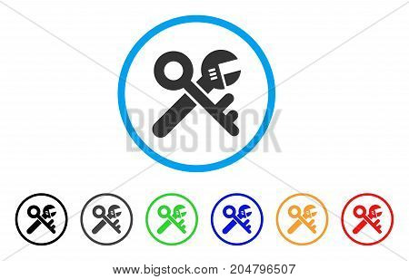 Security Tools rounded icon. Style is a flat security tools grey symbol inside light blue circle with black, gray, green, blue, red, orange color versions.