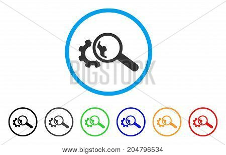 Seo Tools rounded icon. Style is a flat seo tools gray symbol inside light blue circle with black, gray, green, blue, red, orange variants. Vector designed for web and software interfaces.