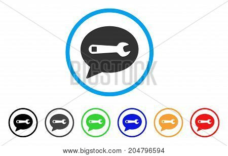 Service Message rounded icon. Style is a flat service message gray symbol inside light blue circle with black, gray, green, blue, red, orange variants. Vector designed for web and software interfaces.
