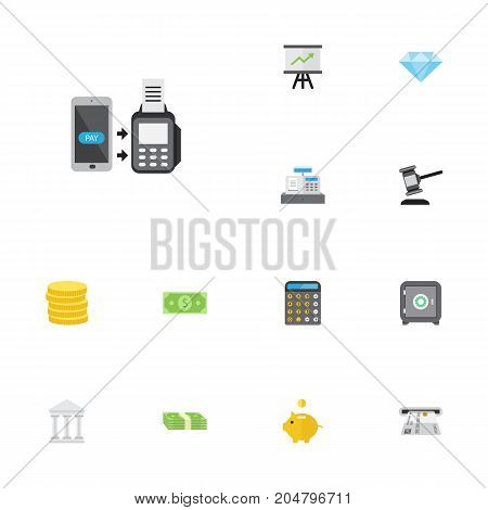 Flat Icons Growing Chart, Verdict, Money Box And Other Vector Elements