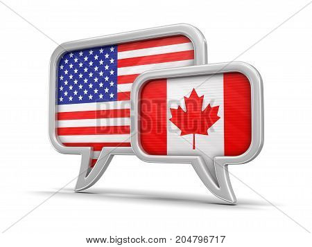 3d Illustration. Speech bubbles with USA, Canada flags. Image with clipping path