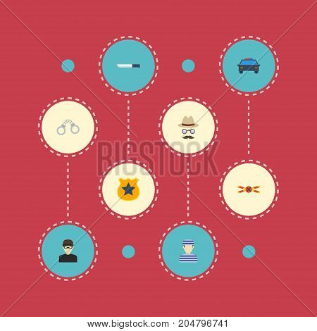 Flat Icons Manacles, Bayonet, Prisoner And Other Vector Elements