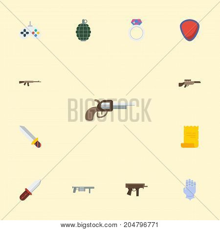 Flat Icons Weapon, Dynamite, Game And Other Vector Elements