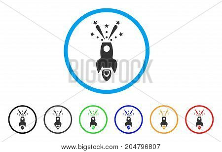 Space Rocket Boom rounded icon. Style is a flat space rocket boom grey symbol inside light blue circle with black, gray, green, blue, red, orange versions.