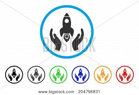 Space Rocket Care Hands rounded icon. Style is a flat space rocket care hands gray symbol inside light blue circle with black, gray, green, blue, red, orange variants.