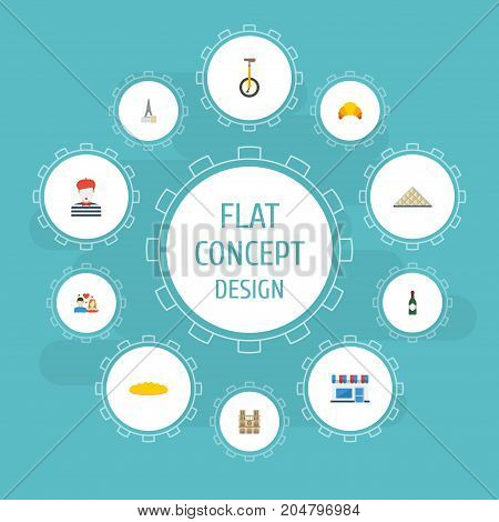 Flat Icons Alcohol, Pantomime, Cathedral And Other Vector Elements
