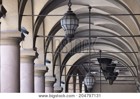 Bologna (Emilia Romagna Italy): detail of a typical old portico