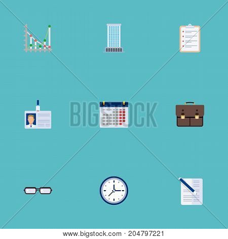 Flat Icons Calendar, Clock, Task List And Other Vector Elements