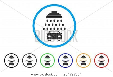 Car Shower rounded icon. Style is a flat car shower grey symbol inside light blue circle with black, gray, green, blue, red, orange variants. Vector designed for web and software interfaces.