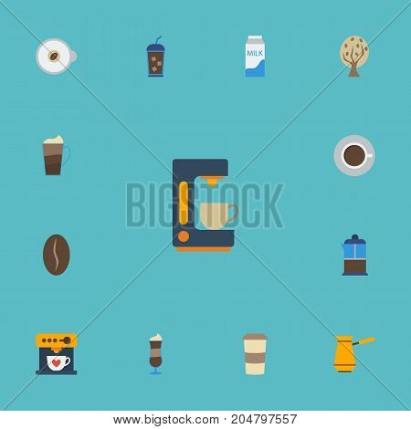 Flat Icons Plastic Cup, Paper Box, Coffeemaker And Other Vector Elements