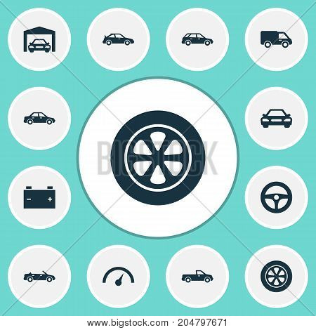 Auto Icons Set. Collection Of Accumulator, Hatchback, Carriage And Other Elements