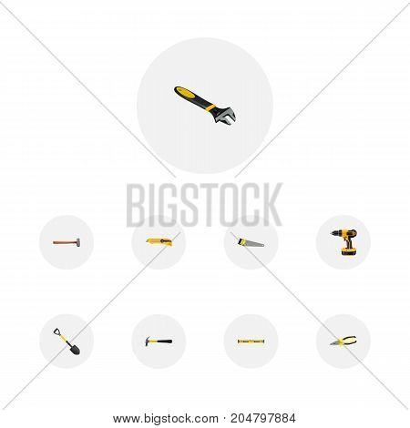 Realistic Stationery Knife, Electric Screwdriver, Wrench And Other Vector Elements
